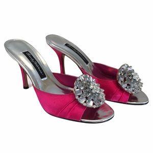 Beverly Feldman Pink Satin Rhinestone Jewel Heels